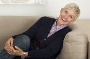 Ellen DeGeneres sitting in her Burbank office