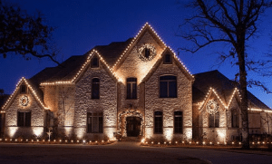Home decorated to sell over the holidays with simple lights