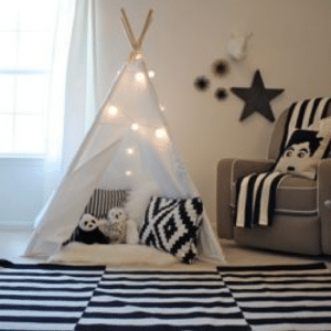 Give your home some TLC by creating new play spaces for your kids like this tee-pee.