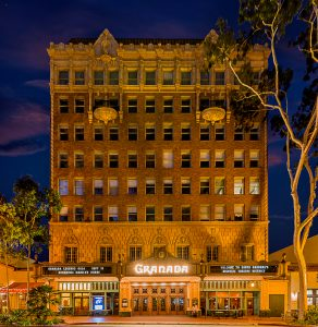 A piece of Santa Barbara history: Granada building at twilight