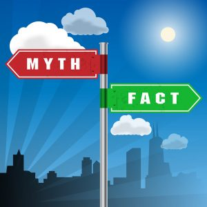 Road sign with words Myth, Fact, vector illustration to illustrate real estate facts