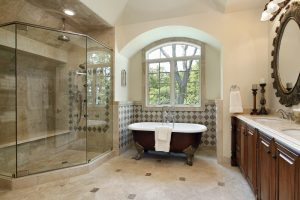 Master bath in luxury home with glass shower to show Master bathroom renovation