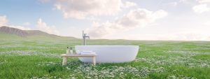 Beautiful bathtub in the middle of a beautiful field to show outdoor tubs for you Montecitor Estate