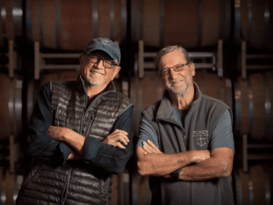Bill Wathen and Dick Dore, owners of Foxen wines that serves pinot noir