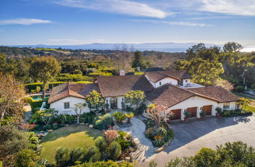 Birds eye view of a Montecito home for sale