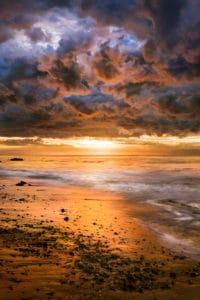 A dramatic sunset after a winter storm in Santa Barbara, California to show how winterizing your home is important