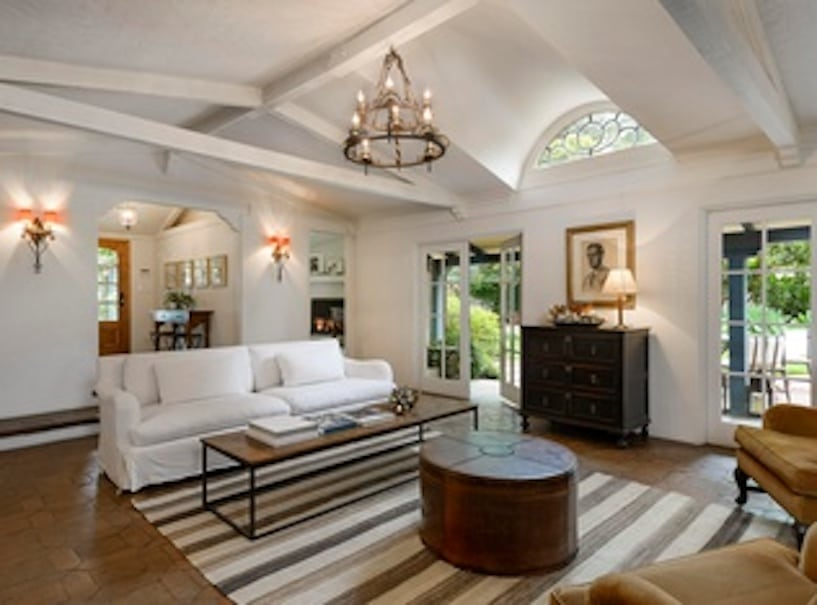 Spacious and beautifully yet casually furnished living room of a Montecito Estate for sale by Cristal Clarke
