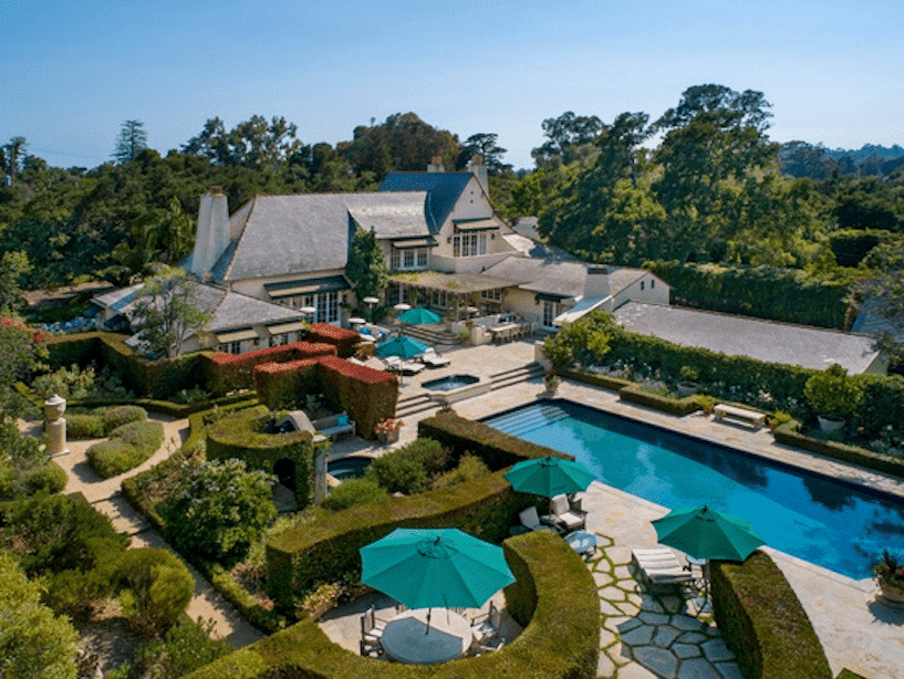 View of Montecito Estate with manicured grounds and large pool.