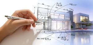 Hand drafting a design villa and the building becoming real to illustrate home design