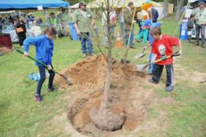 Kids digging the dirt in a green grassy area to plant a tree at Earth Day Santa Barbara 2019