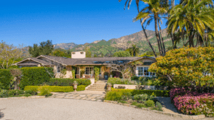 Front of a ranch style Montecito estate that is for sale
