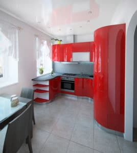 Mid-century Modern kitchen with red