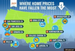 map that shows areas in the US where home prices have fallen the most