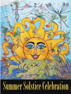 Original poster of the Summer Soltice Celebration in Santa Barbara with a yellow colorful smiling sun