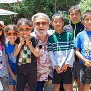 Actor Jeff Bridges is dedicated to the No Kid Hungry organization. The superstar is seen in the picture surrounded by local Santa Barbara kids.