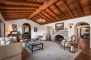 Santa Barbara home for sale displaying Mantel Magic above the fireplace in the living room