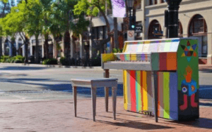 A colorful piano onState Street, just one of the Art and Culinary Delights in Santa Barbara this October