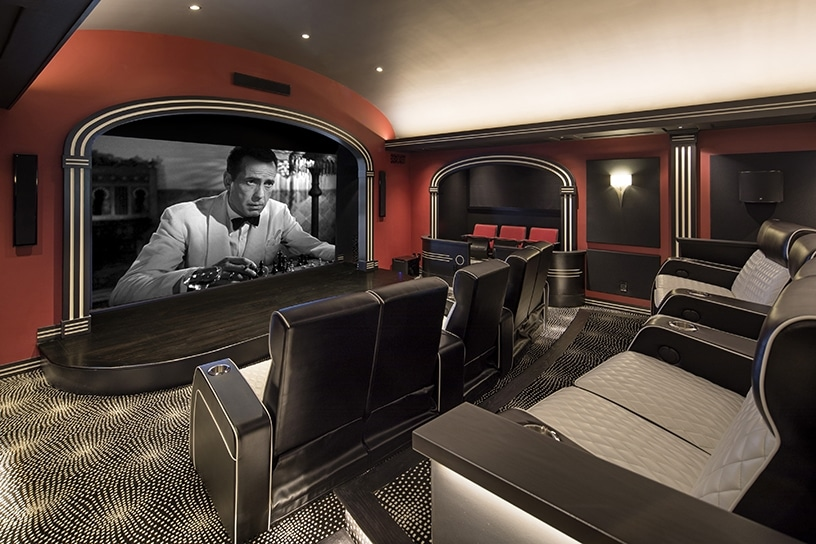 inside a home theater, illustrating Celebrity living in Santa Barbara