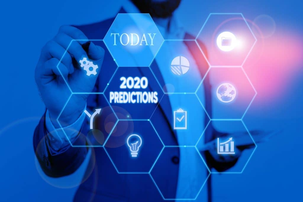 Text sign showing 2020 Predictions. Business photo text statement about what the Federal Interest Rate forecast in 2020. Picture photo system network scheme modern technology smart device.
