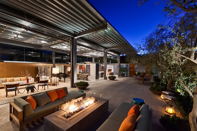 Terrace of a Barton Myers-designed home in Montecito at dusk