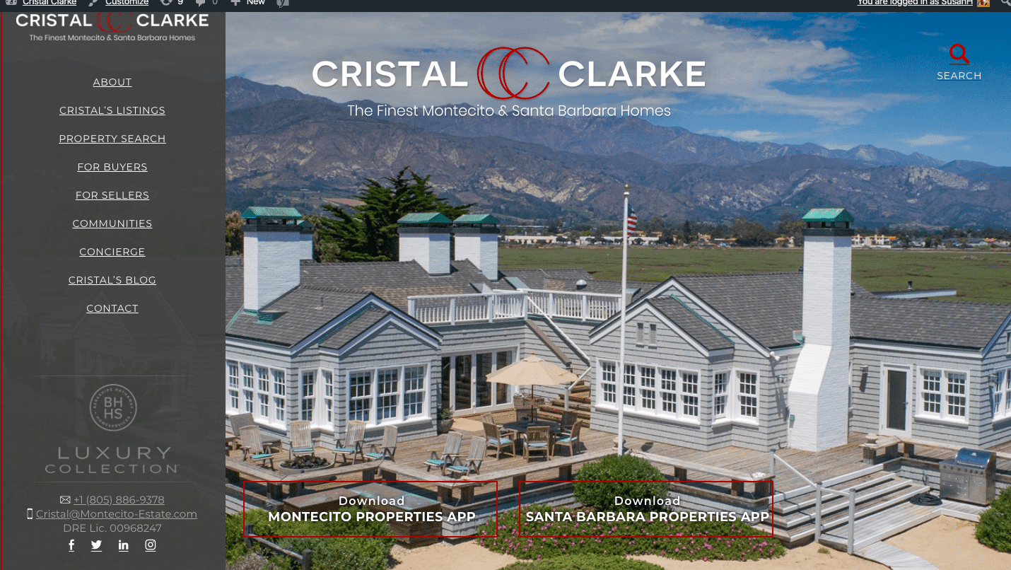 scren shot of the home page of Santa Barbara Realtor Cristal Clark's website