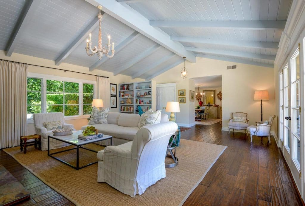 The inviting living room of a stylish home in Montecito listed by Cristal Clarke
