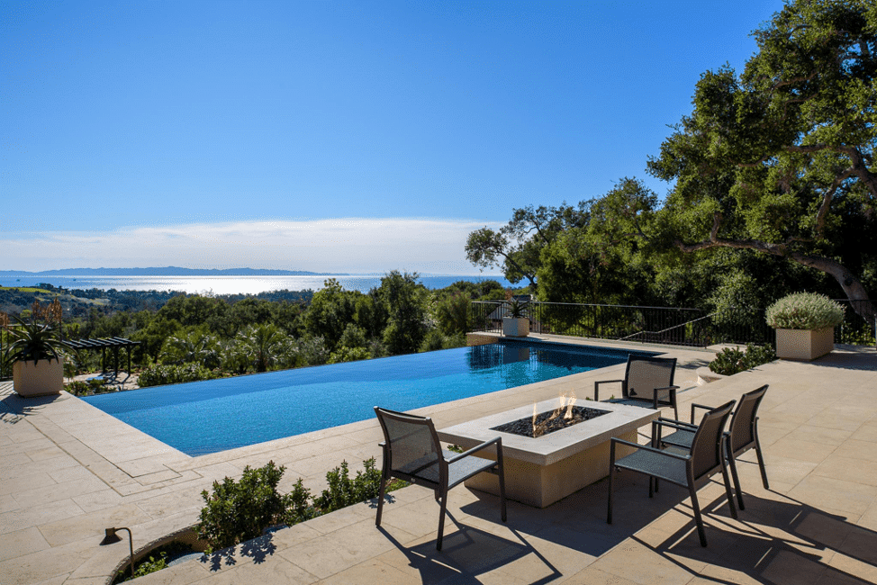 The backyard and pool of a Montecito home for sale