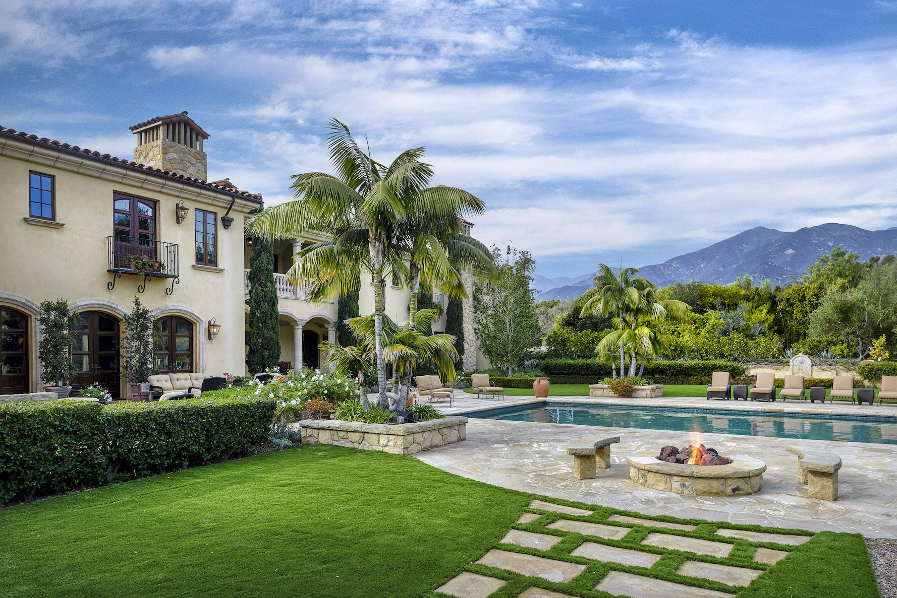 The backyard of an amazing estate for sale in Montecito's Ennisbrook