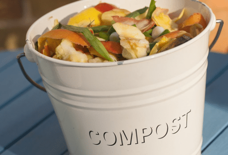 Compost bucket in the kitchen is a great way to start going green at home.