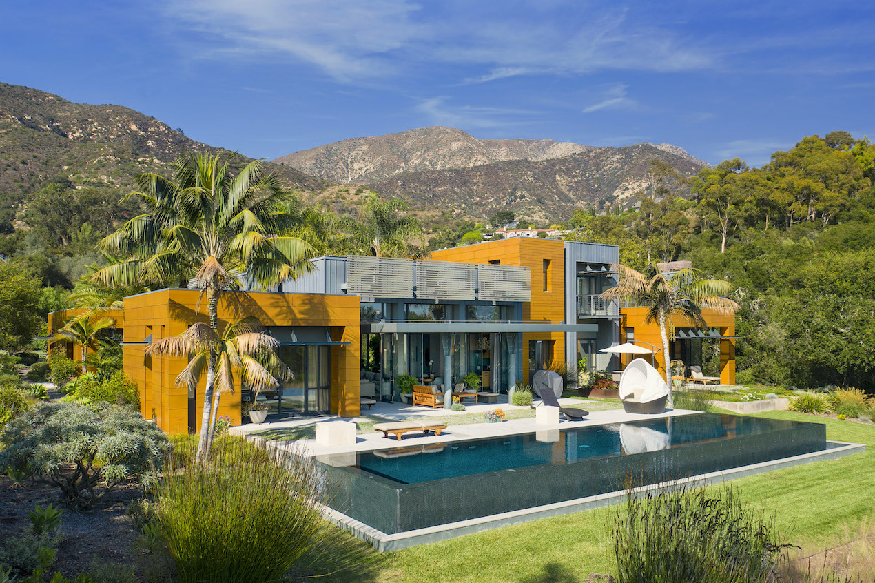 A bird eye view of a Modernist Masterpiece on Romero Canyon Drive for sale in Montecito, CA