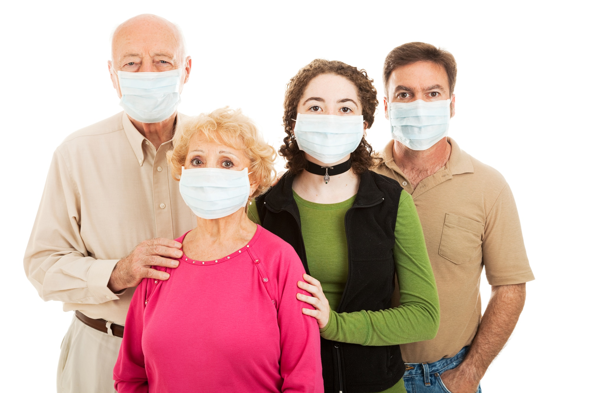 Family - elderly parents, their adult son, and teen granddaughter - wearing surgical masks to protect from an epidemic.