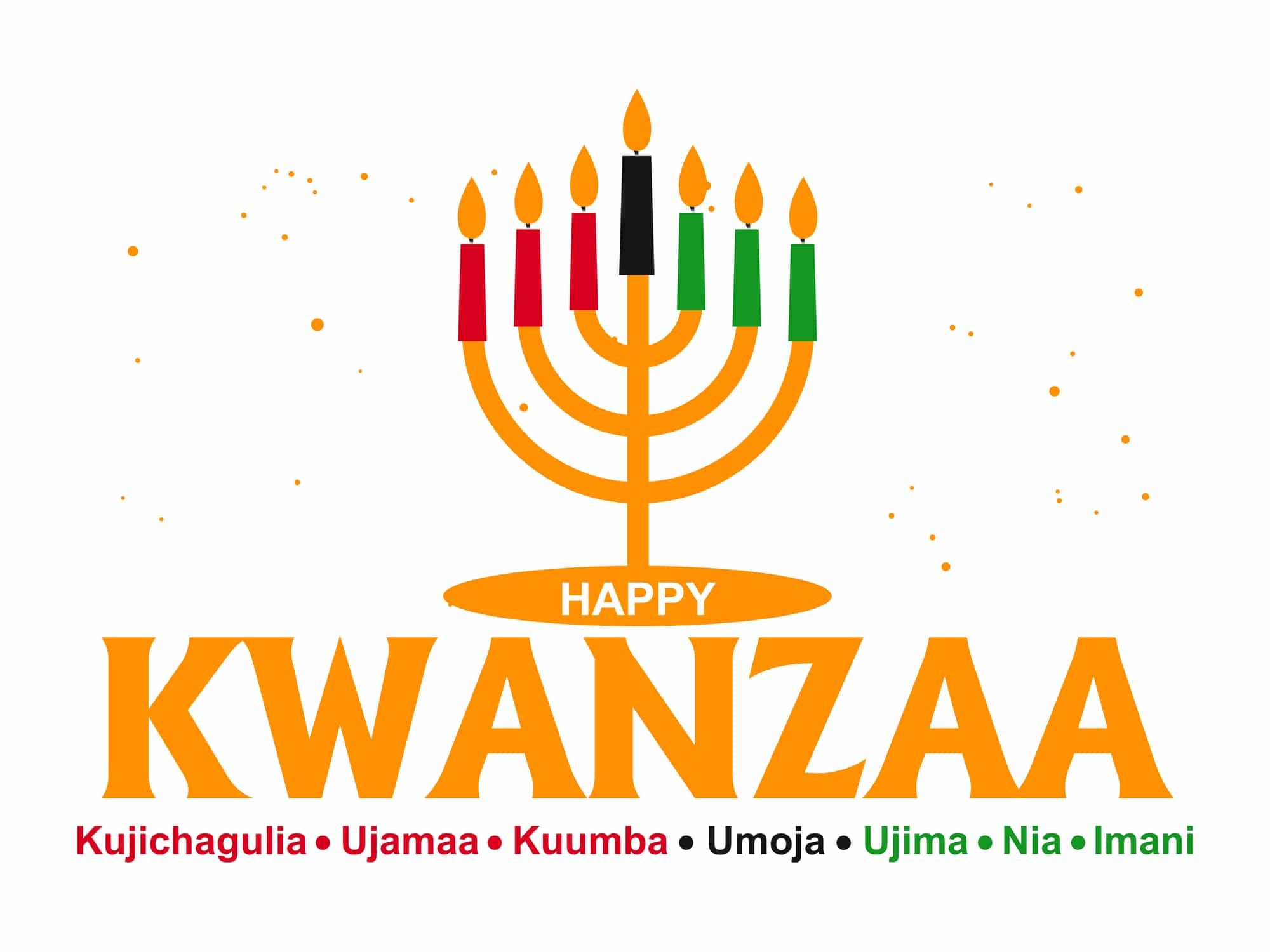 The word Kwanzaa with candles in the background