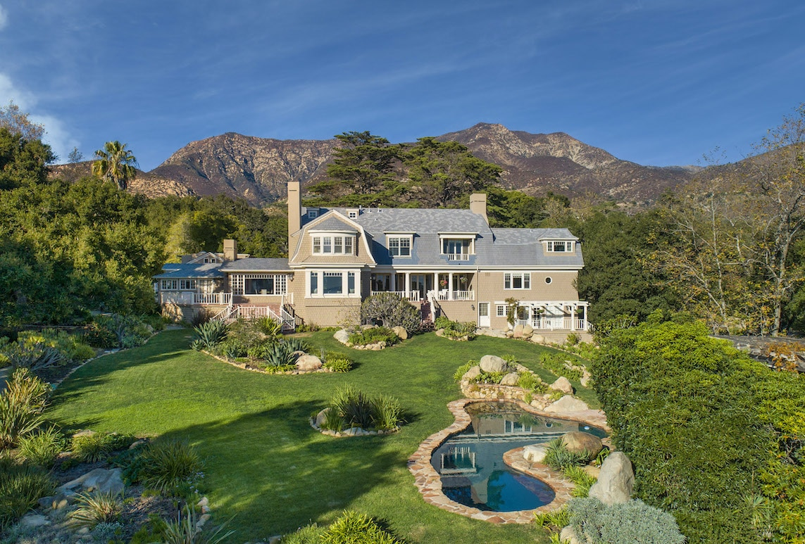 This Cape-Cod Estate tha is currently on the market is a prime example of the vast architecture in Montecito